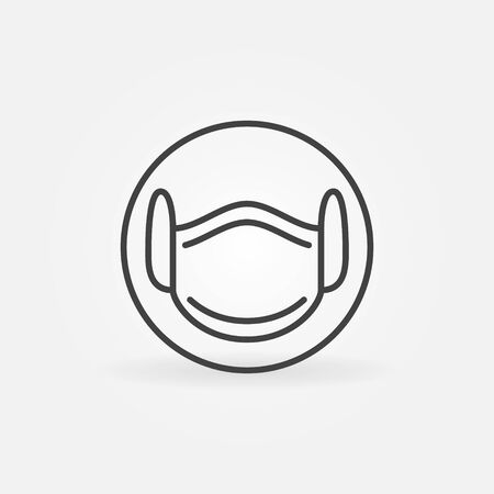 Medical Face Mask linear vector concept icon Çizim