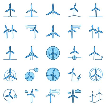 Wind Turbine colored icons. Vector Wind Power creative signs 矢量图像