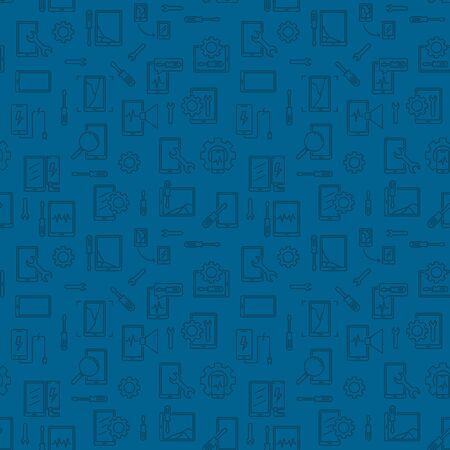 Smart Phone Repair Dark Seamless Pattern - vector Device Repair linear background Illustration
