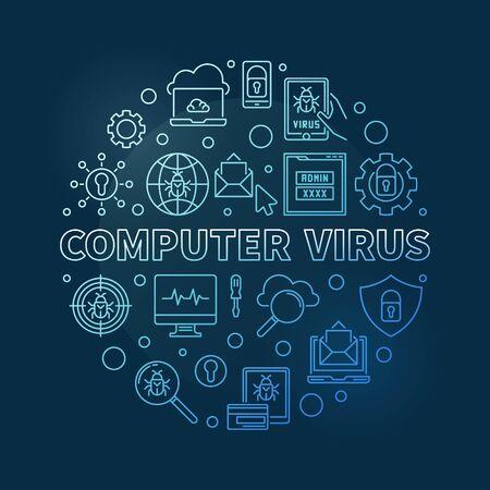 Vector Computer Virus round blue thin line illustration Illustration