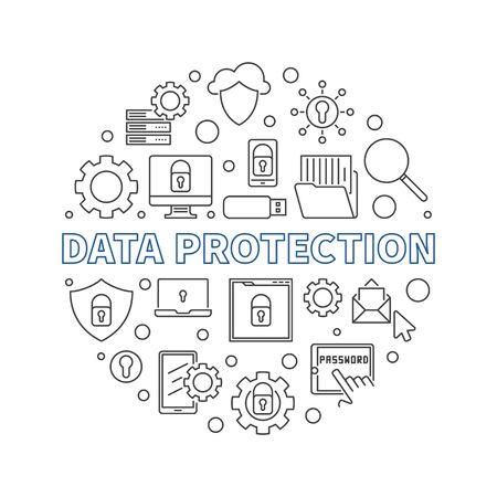 Vector Data Protection circular concept line illustration