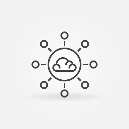 Cloud Computing linear vector concept icon