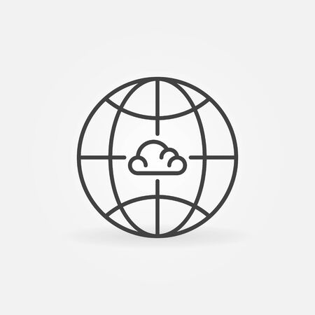 Earth with Cloud inside linear vector concept icon