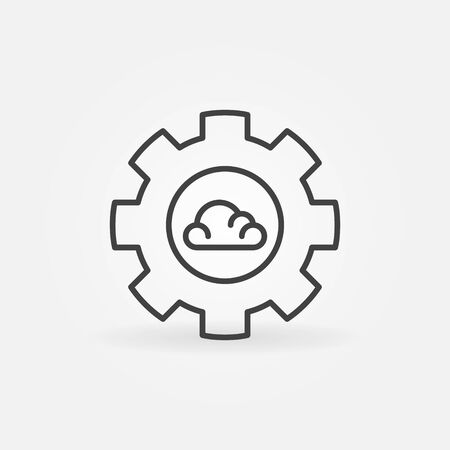 Gear with Cloud linear vector Cloud Computing concept icon