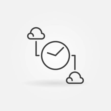 Clouds with Clock outline icon. Vector Cloud Computing symbol Vectores