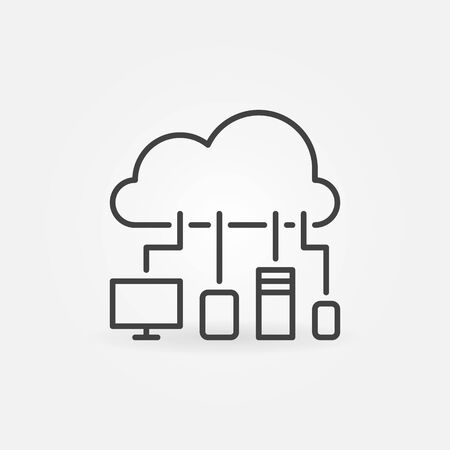 Cloud with Devices vector thin line concept icon Vectores