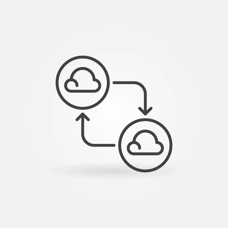 Clouds connected with arrows line icon. Cloud Computing vector sign