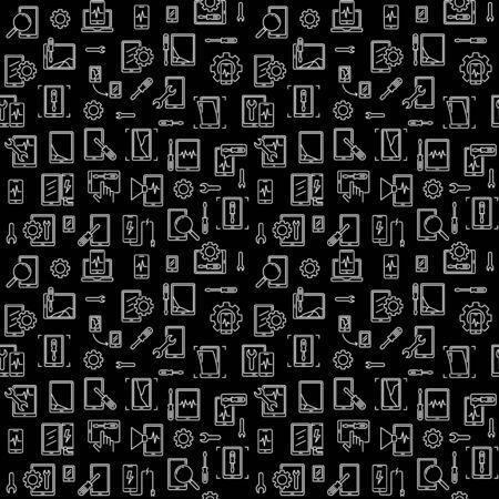 Smartphone Repair linear vector dark seamless pattern Illustration