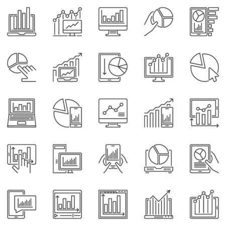 Computer with Chart or Graph outline icons set. Vector Analytics and Statistics on Device concept symbols