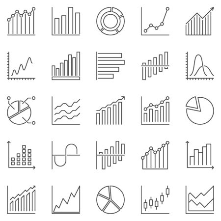 Graph and Chart outline icons set - vector Statistics concept linear symbols or design elements Vettoriali