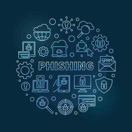 Vector Phishing circular concept linear blue illustration on dark background Illustration