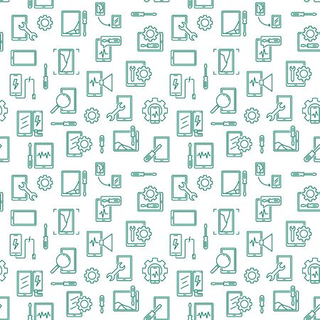 Tablet and Phone Repair vector concept thin line seamless pattern or background