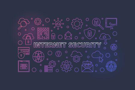 Internet Security vector concept outline colorful horizontal illustration or banner on dark background