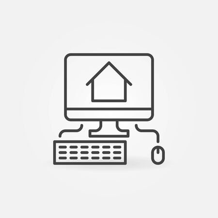 PC with House line icon. Working at Home vector outline concept symbol Vettoriali