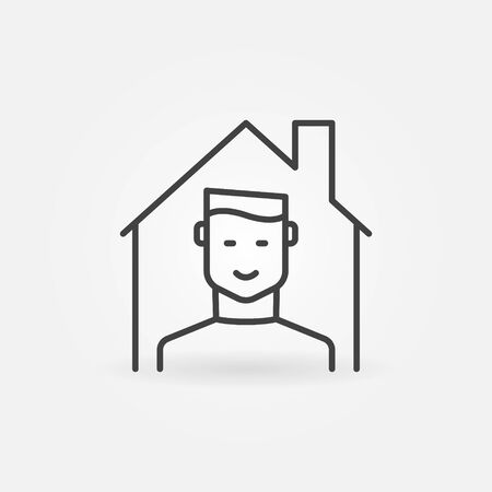 Boy in House outline icon - Stay at Home vector concept linear symbol Illustration