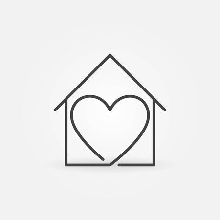 Heart inside House vector thin line concept Stay at Home icon or design element