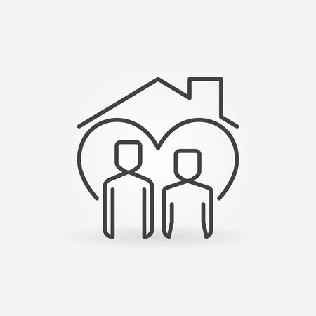 Man with Woman under House Roof line icon. Stay Home vector concept sign in outline style