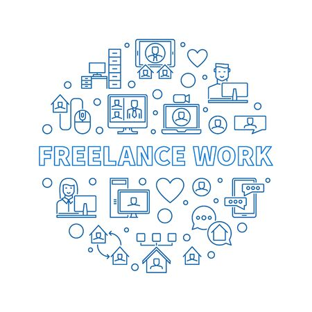 Freelance Work vector concept round blue illustration in outline style