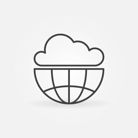 Cloud with Earth outline icon. Vector Cloud Computing Technology concept symbol or design element