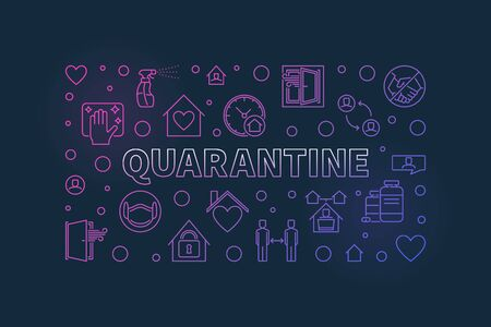 Quarantine linear vector concept colorful horizontal banner or illustration on dark background