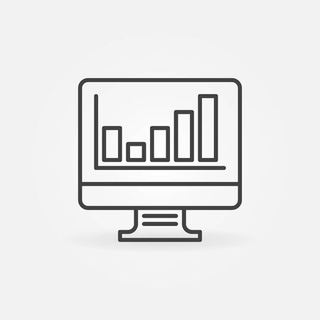 Computer Display with Bar Chart linear icon. Vector Analytics concept outline symbol or element