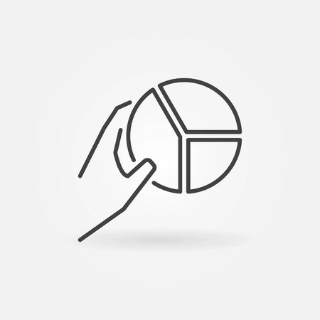 Hand with Pie Chart vector concept icon or sign in outline style Иллюстрация