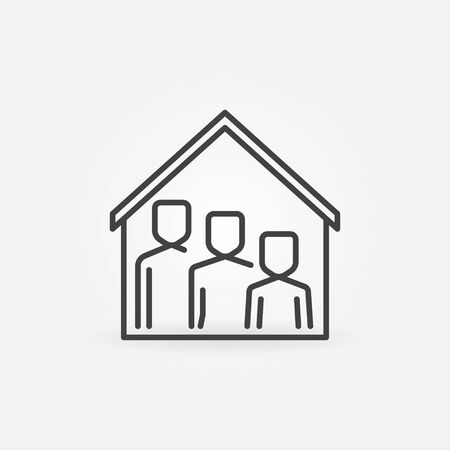Family under House Roof line icon. Vector Stay Home concept linear symbol or design element