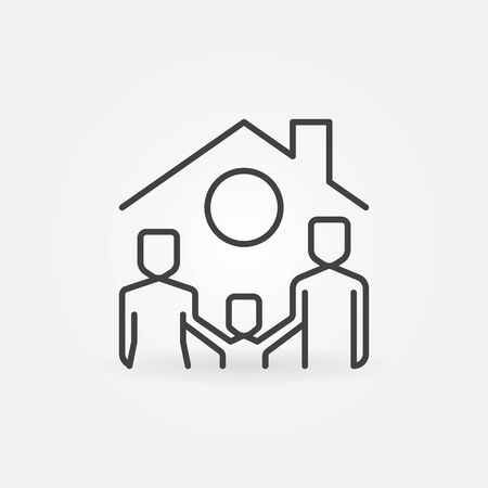 Happy Family under House Roof vector concept icon or symbol in thin line style