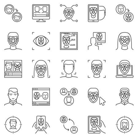 Face Recognition and Authentication outline icons set. Vector Deepfake technology concept symbols. Facial Recognition and verification linear signs