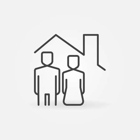 Woman and Man under House Roof line icon. Staying at home outline vector concept symbol or design element