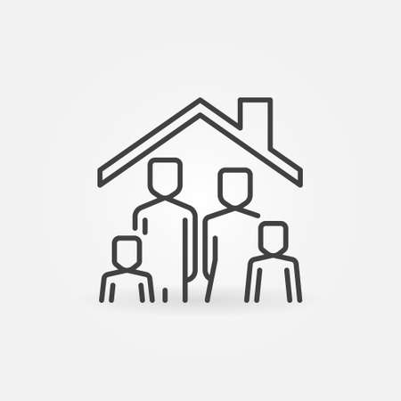 Family in House concept line icon. Vector Stay at Home sign