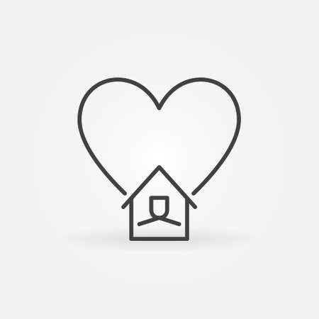 House with Heart linear icon. Stay at Home vector symbol Ilustracja