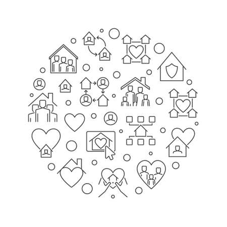Stay at Home linear vector concept circular illustration Ilustracja