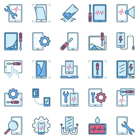Smartphone and Tablet Repair blue creative vector icons