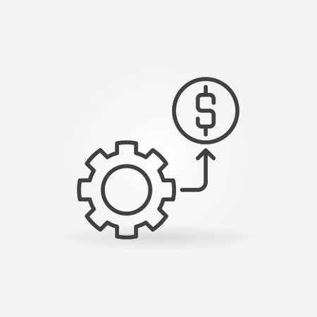 Cog Wheel with Dollar sign outline vector concept icon
