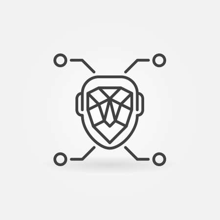 Face Recognition or Detection linear vector concept icon Vectores