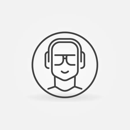 Man with Headphones in Circle linear vector round icon