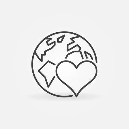 Heart with Earth outline icon. Donating vector line symbol