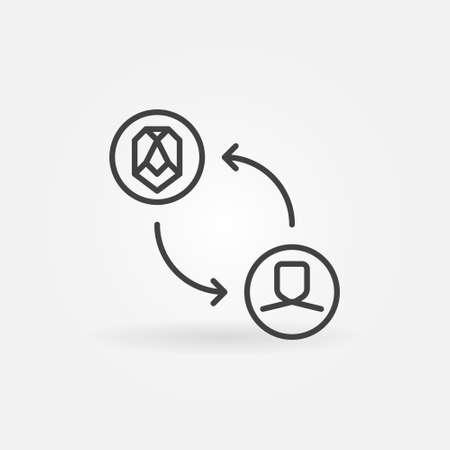 Face Swap linear vector concept minimal icon Ilustración de vector