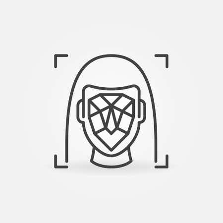 Woman Face Swap or Facial Detection vector concept icon