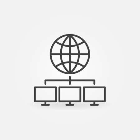Global Data Mining outline vector concept icon