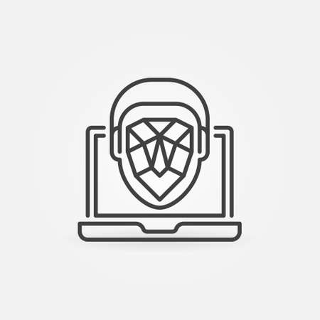 Face Recognition on Laptop vector thin line concept icon Vectores