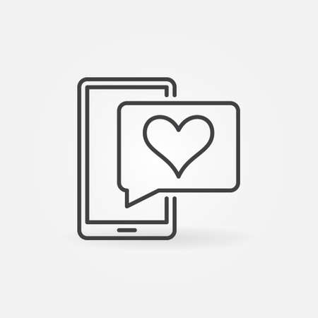 Smartphone and Speech Bubble with Heart vector line icon