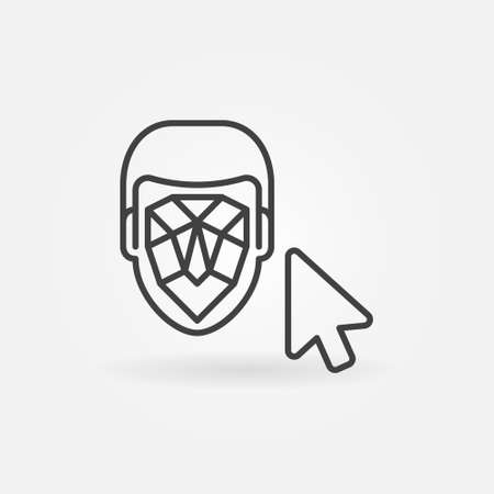 Mouse Click on Face Recognition vector line icon