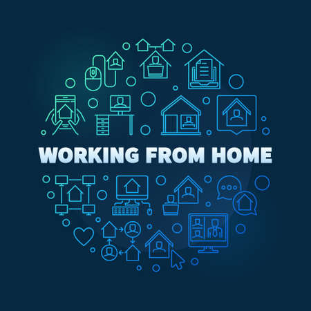 Vector Working From Home circular colorful line illustration