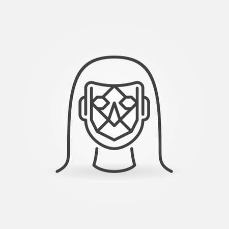 Woman Face Detection vector thin line concept icon