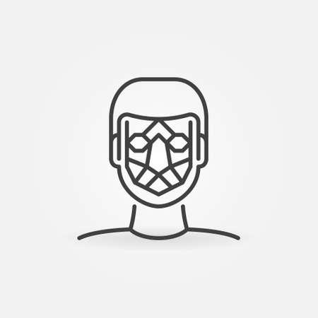 Man Face Detection vector line icon. Facial Recognition sign
