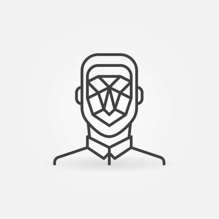 Man Face Detection linear icon. Vector concept symbol
