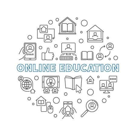 Online Education vector thin line concept round illustration