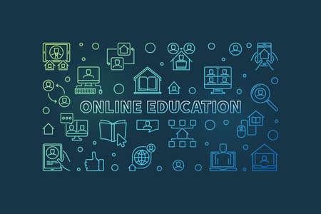 Online Education vector colored concept outline banner Illusztráció